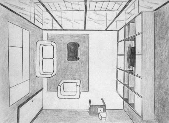 Perspectiva c nica frontal cenital clases de dibujo online en directo por videoconferencia - Habitacion en perspectiva conica ...