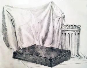 Apunte a lápiz de Esther Soler. Arte Casellas