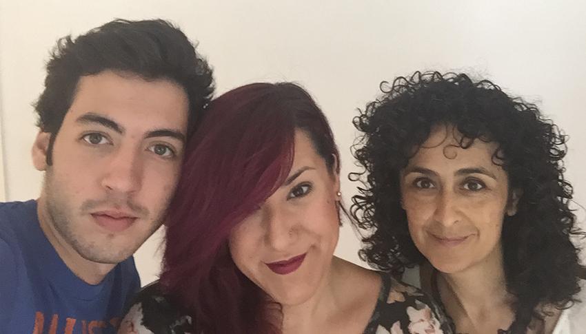 Vicky Casellas con Gonzalo Martínez y Cristina Barba